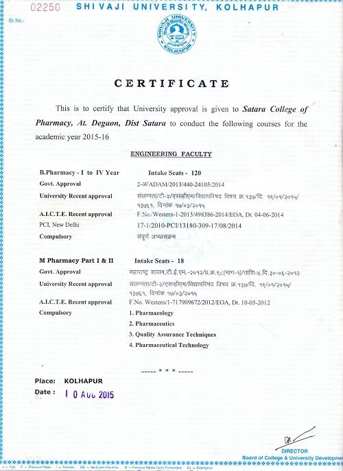 B.Pharm Affiliation
