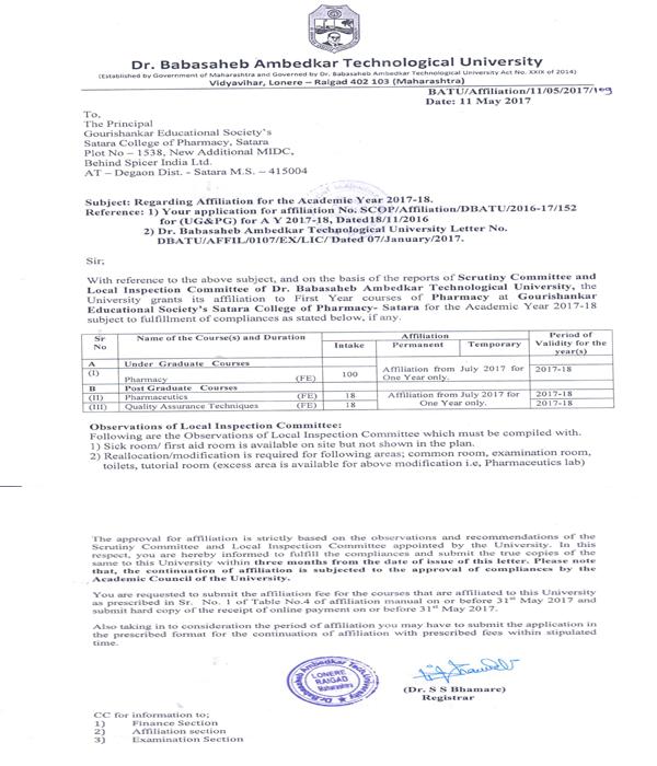 B.Pharmacy affiliation letter of DBATU