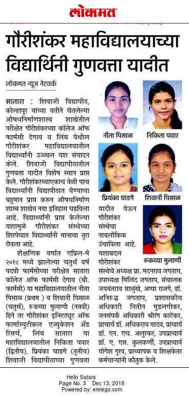 Shivaji University Rankers 2017-18