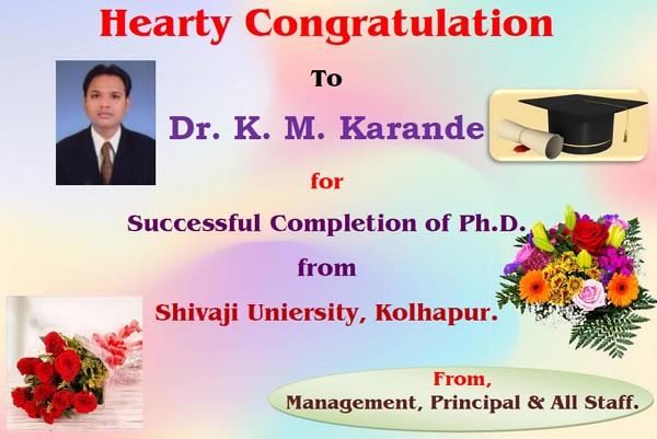 Dr. K.M. Karande Succeful Completion of Ph.D