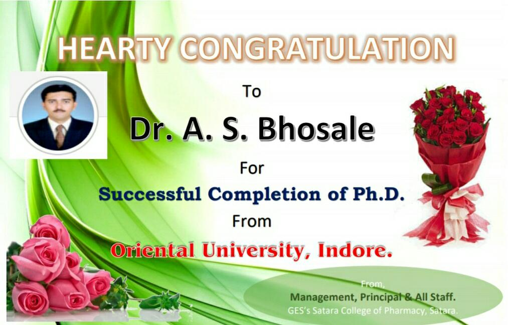 Dr. A.S. Bhosale Succesfully Completion of Ph.D